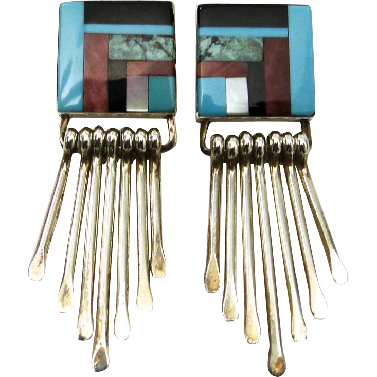 Vintage Zuni Native American Dangling Earrings Multi Stone Inlay