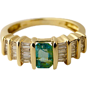 Colombian Emerald .70 Ct and Diamond 1.0 Ct Ring in 14k Yellow Gold