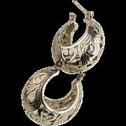 Sterling Silver Filigree Puffed Hoops Earrings Oxidized.