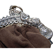 Spectacular Victorian 800 Silver Purse Frame/Purse w/ Caryatids, Swans, Dog & Wreath!