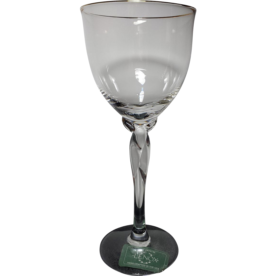 Lenox crystal unity wine glass with gold trim from rubylane sold on ruby lane - Lenox gold rimmed wine glasses ...