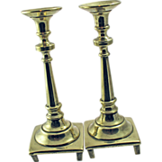 Judaica, 18th Century Russian Brass Sabbath Candlesticks