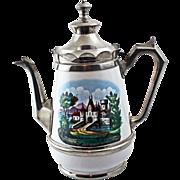 19Century American Decorated Pearl Agateware/Graniteware/Enamelware Coffee Pot - Castle Scene