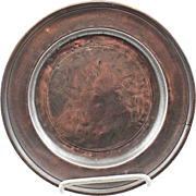 18/19 Century American Pewter Plate with Love Bird Mark