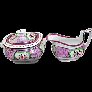 19Century English Pink Lustreware Cream & Sugar