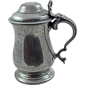 18/19Century English Pewter Lidded Pint Tankard