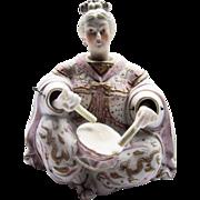 Antique porcelain oriental bisque asian female drummer nodder
