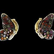 Multi Color Sapphire & Diamond Butterfly Earrings 14KT Yellow Gold Earrings