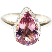 Bubble Gum Pink Tourmaline and Diamond Ring in 14KT Yellow Gold