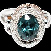 Rarest Paraiba Blue Tourmaline and Diamond Ring in 14KT White Gold