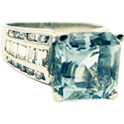 12 CT Asscher Cut Aquamarine and Diamond Ring in 14KT White Gold