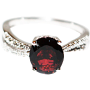 Rubellite Pink Tourmaline, White and Chocolate Diamond Ring in 14KT White Gold