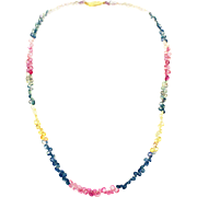 55CT Faceted Multi-Color Sapphire Necklace 18KT Gold