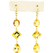 25CT Natural Citrine with Diamonds Earrings 14KT Gold