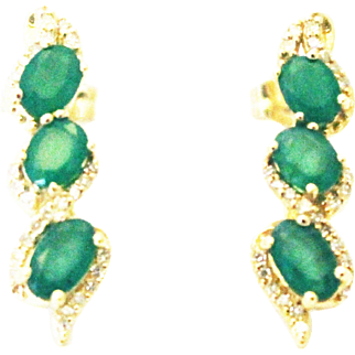 3CT Natural Colombian Emerald and Diamonds Earrings in 14KT Yellow Gold