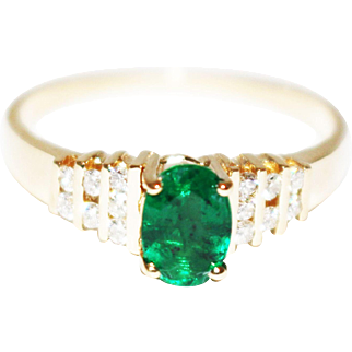 1 CT Natural Colombian Emerald and Diamond 14KT Yellow Gold Ring