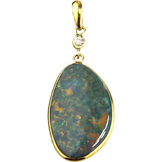 Handmade Natural  Australian Fiery Opal Diamond 18KT Yellow Gold Pendant