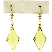 26CT Natural Lime Citrine with Diamonds Earrings 14KT Gold
