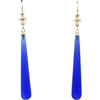 20CT Natural Blue Sapphire Chalcedony and Diamonds Earrings Set in 14KT Gold
