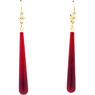 20CT Natural Red Ruby Chalcedony and Diamonds Earrings Set in 14KT Gold