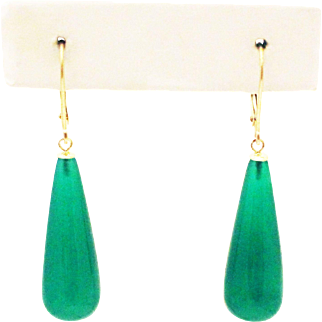 29CT Natural Emerald Green Onyx Earrings Set in 14KT Gold