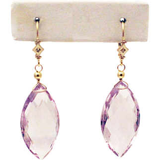 37CT Natural Rose de France Pink Amethyst with Diamonds Earrings 14KT Gold