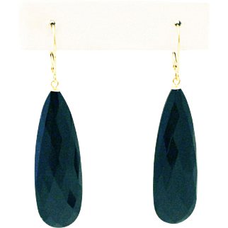 43CT Natural Black Onyx Earrings Set in 14KT Gold