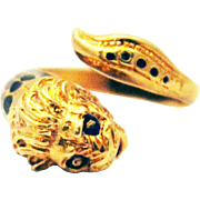 Enamel Mythical Sea Serpent European Ring in 14KT Gold