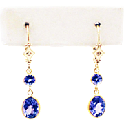 5CT Natural Tanzanite and Diamonds Earrings in 14KT Yellow Gold
