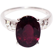 Rubellite Raspberry Pink Tourmaline Diamond Ring in 18KT White Gold