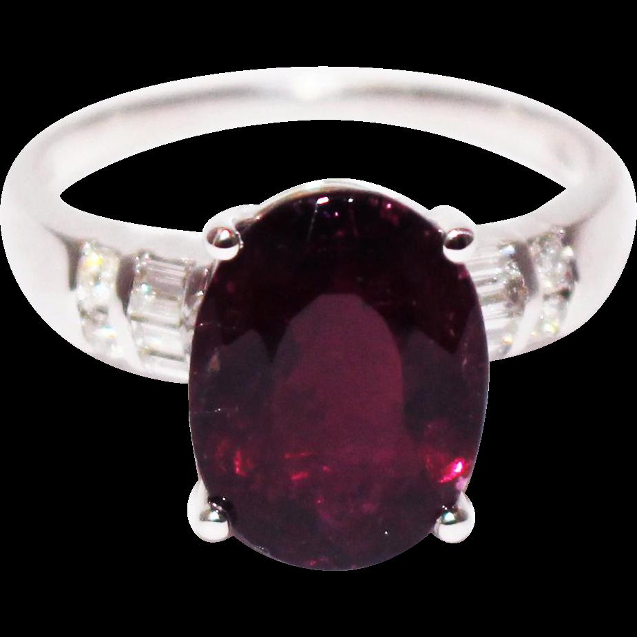 Rubellite Raspberry Pink Tourmaline Diamond Ring In 18KT