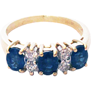 Unique Blue Sapphire Diamond Pinky Stackable Ring 14KT Yellow Gold