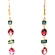 3.7CT Natural Chrome Green and Rubellite Pink Watermelon Tourmaline Earrings 18KT Gold