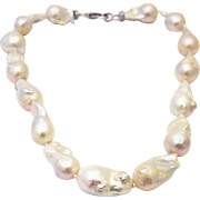 Stunning 33mm Cultured White Baroque Pearl CZ Sterling Silver Necklace