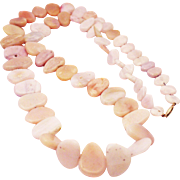 650 CT Natural Peruvian Pink Opal Necklace 14KT Yellow Gold