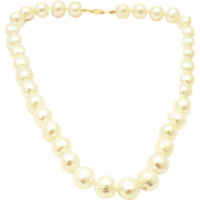 Amazing 13mm Cultured White Freshwater Pearl 14KT Gold Necklace