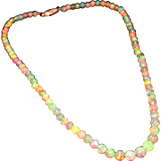 50 CT Natural AAA Ethiopian Opal Necklace 18KT Yellow Gold