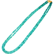 220 CT Natural Faceted Apatite Necklace 14KT Yellow Gold