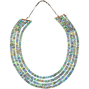 200 CT Natural Ethiopian Opal 4 Strand Choker Necklace 14KT Yellow Gold