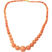 170 CT Natural Peruvian Pink Opal Necklace 14KT Yellow Gold