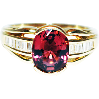 Rubellite Pink Tourmaline Diamond Ring in 18KT Yellow Gold