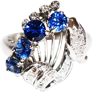 2CT Natural European Cut Ceylon Sapphire and Old mine Cut Diamond Engagement Ring in 18KT White Gold