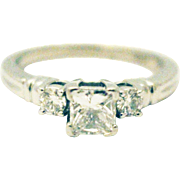 Natural Princess Cute Diamond Engagement Ring or Wedding Band in Platinum