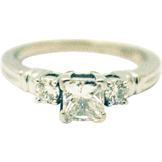Natural Princess Cute Diamond Engagement Ring or Wedding Band in Platinum