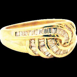 Elegant Love Knot Natural Diamond Cocktail Ring 14KT Gold