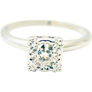 Natural Old European Cut Diamond Engagement Ring in 14KT White Gold