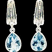 11CT Aquamarine and Diamonds Earrings 14KT White Gold