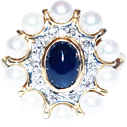 14KT Gold Cultured Akoya Pearls, Diamonds and Natural Sapphire Ring