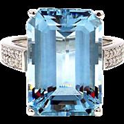 23 CT Emerald Cut Aquamarine and Diamond Ring in Platinum