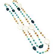 Natural Iolite, Citrine, Peridot, Turquoise, Cultured Coin Pearls Handmade 14KT Gold Necklace